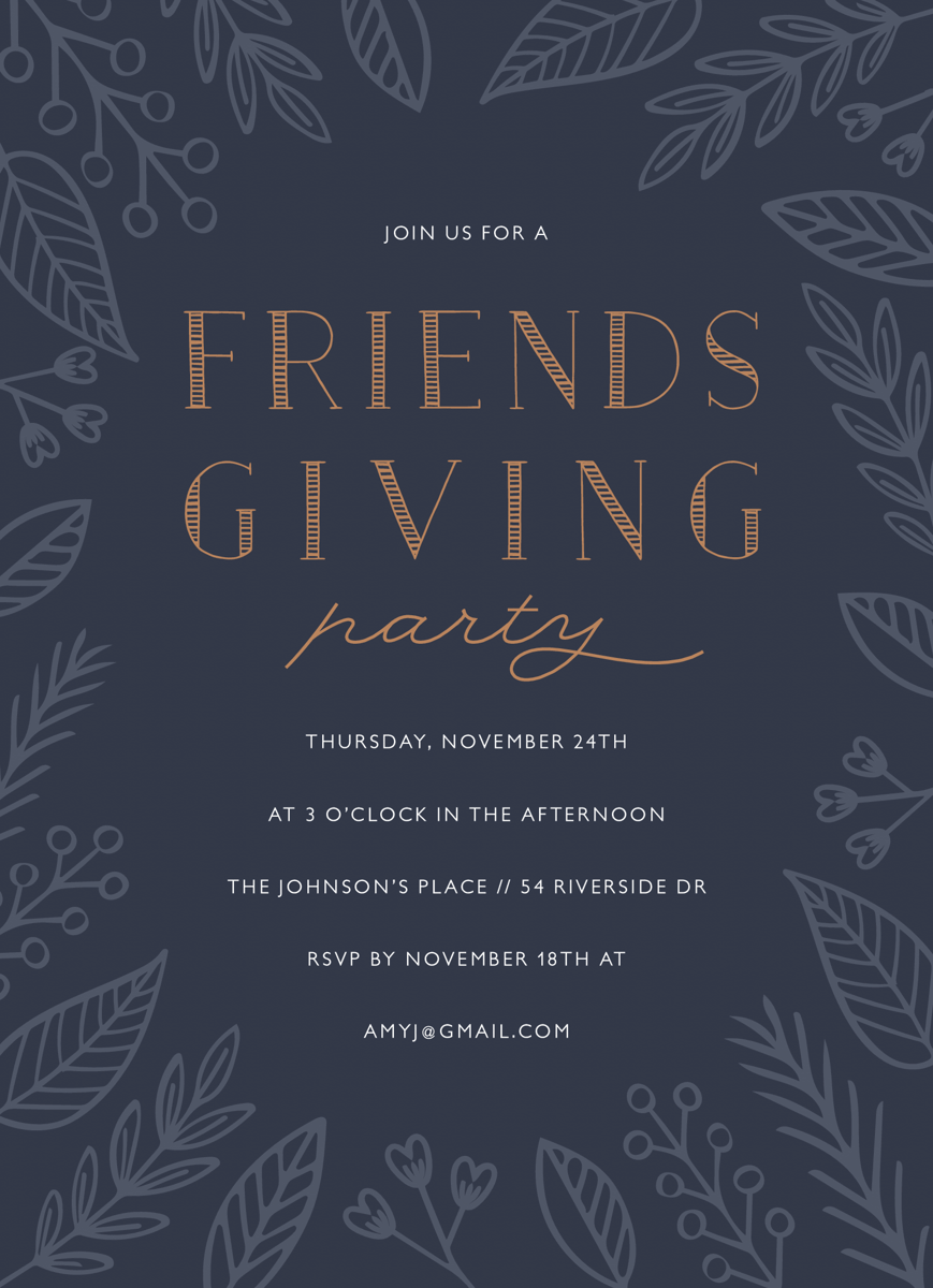 Blue Floral Friendsgiving Invite