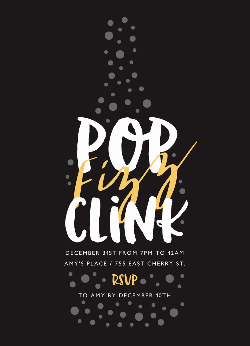 Pop Fizz Clink Party Invite