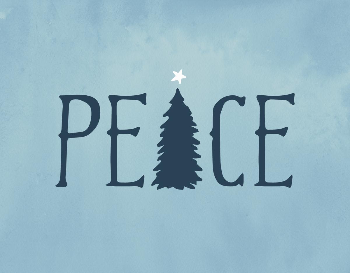 a blue christmas card with peace and a christmas tree