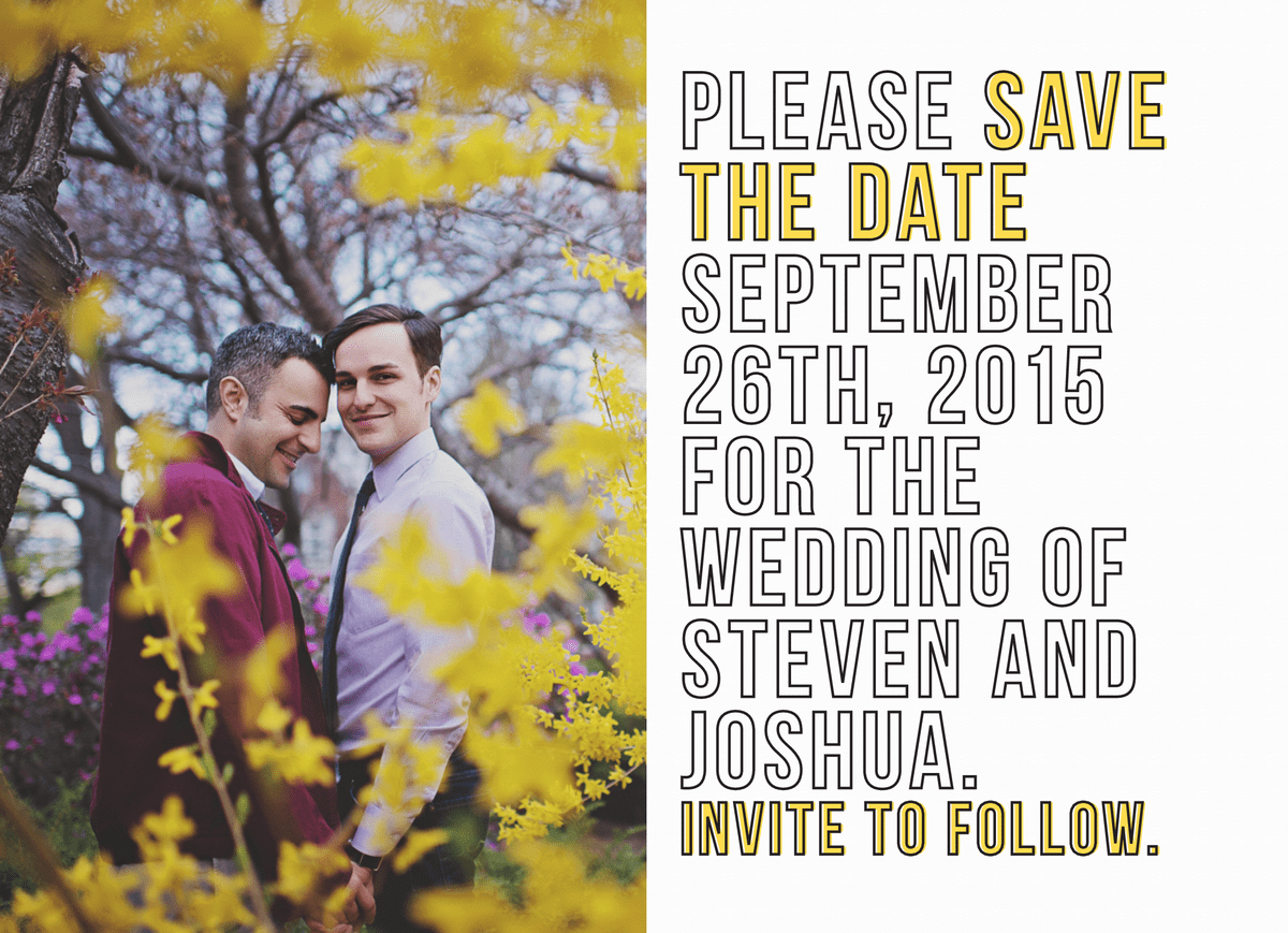Sunny Yellow Save The Date