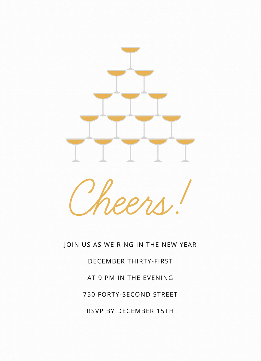 Cheers Champagne Invite