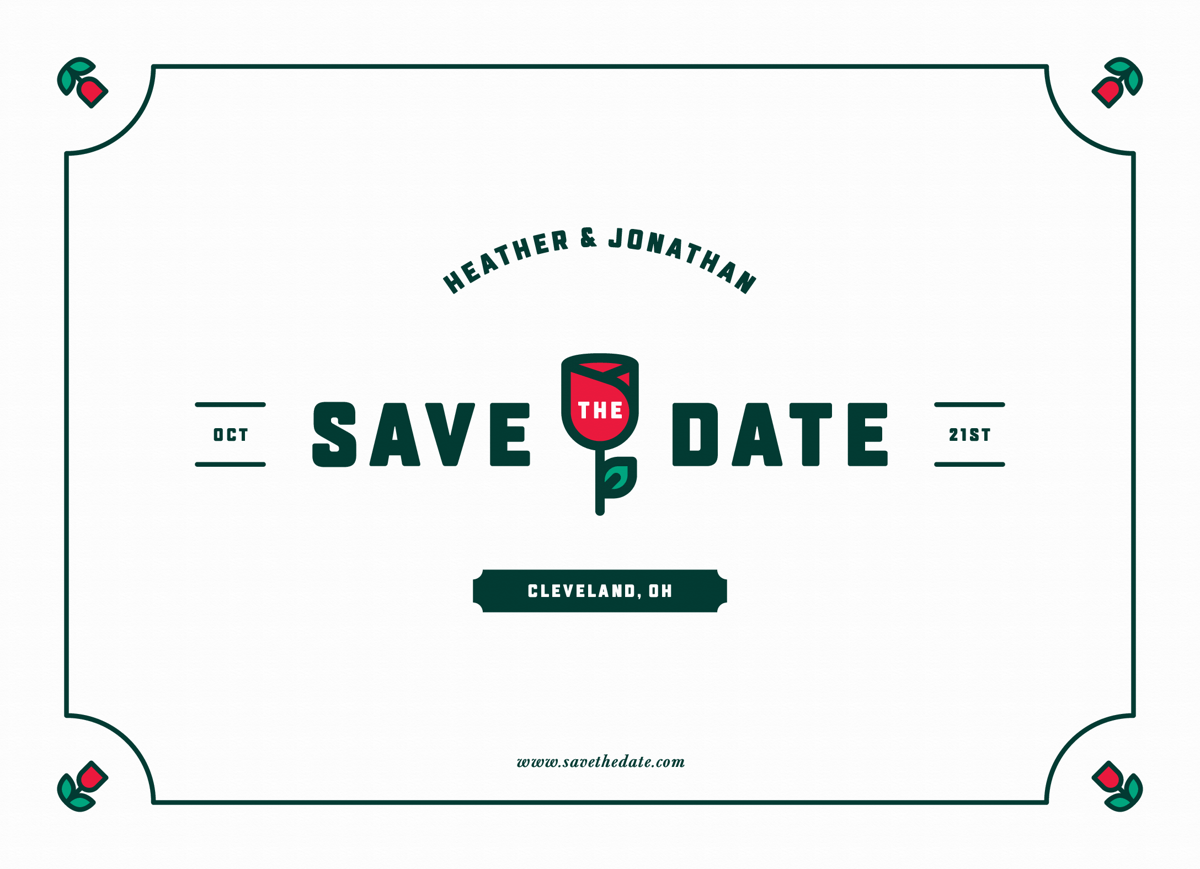 Simple Rose Save The Date