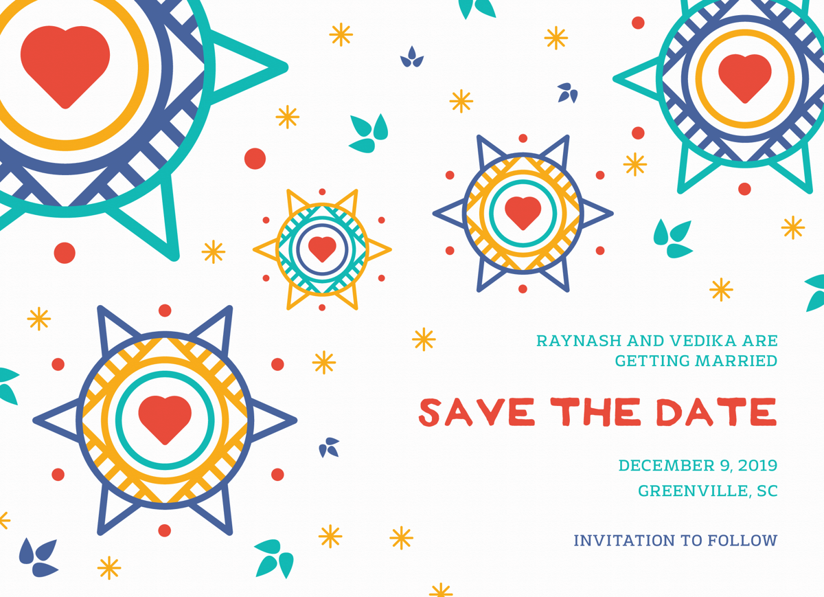 Colorful Pattern Save The Date