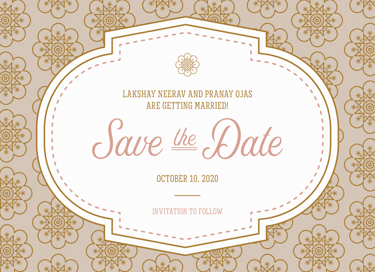 Elegant Pattern Save The Date