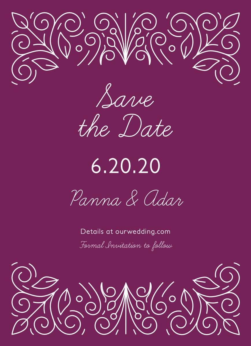Purple Ornament Save The Date