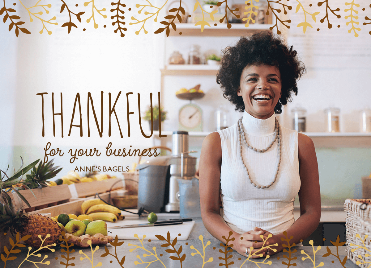 thanksgiving business greeting card with photo