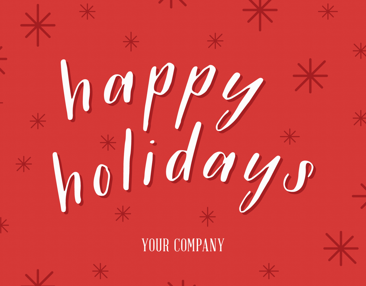 red company holiday greeting with a white script