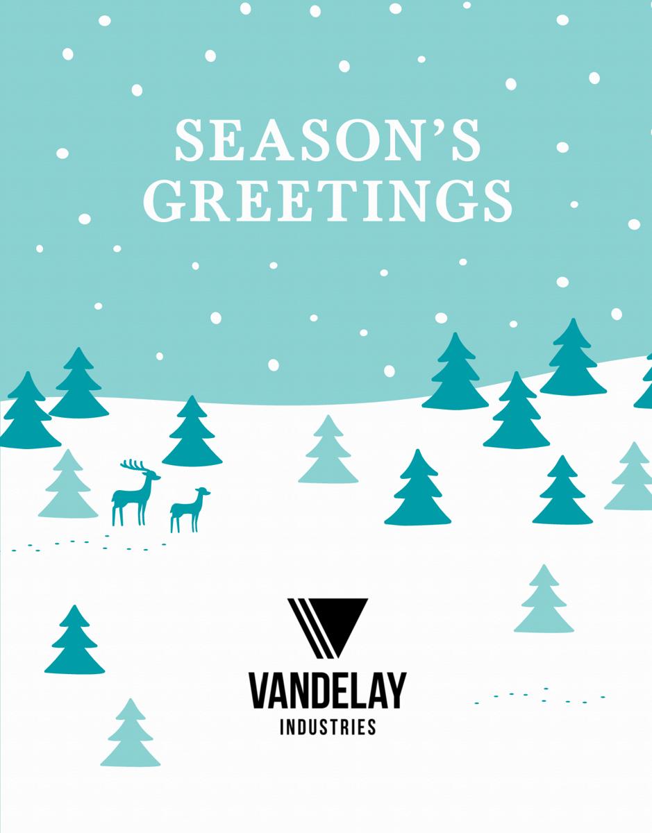Snowy Season's Greetings Folded Logo Card