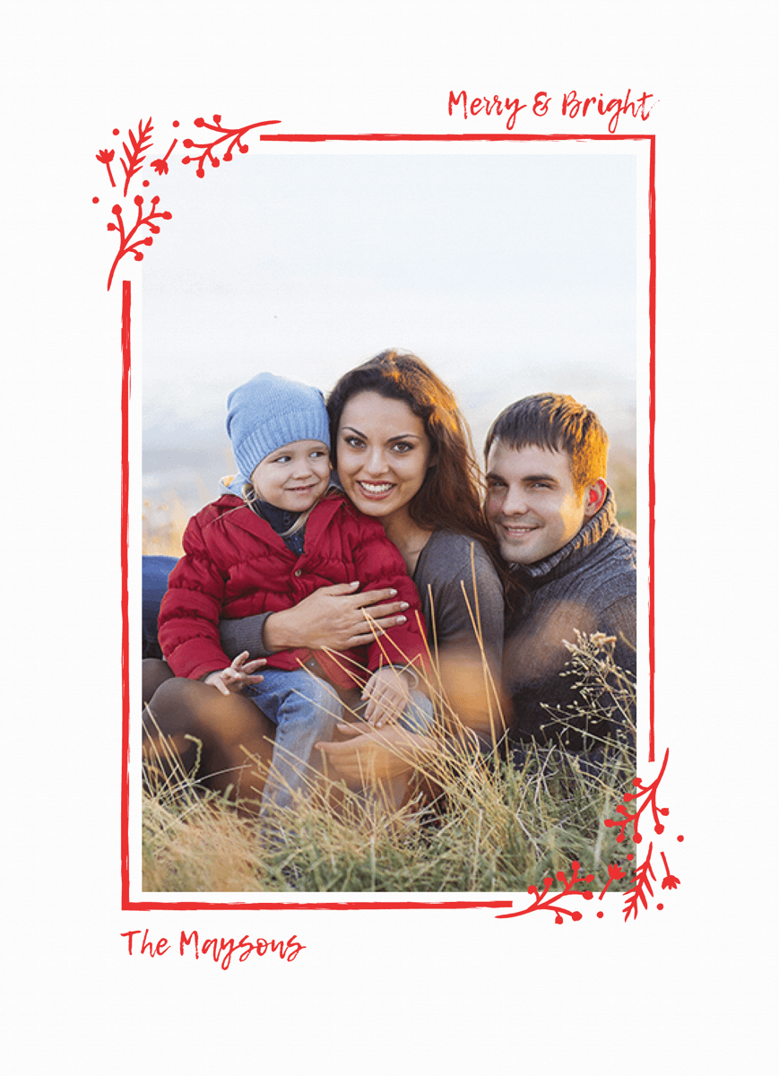 single photo holiday card with a simple red frame