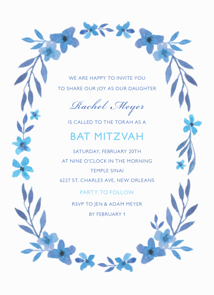 Blue Floral Wreath Bat Mitzvah