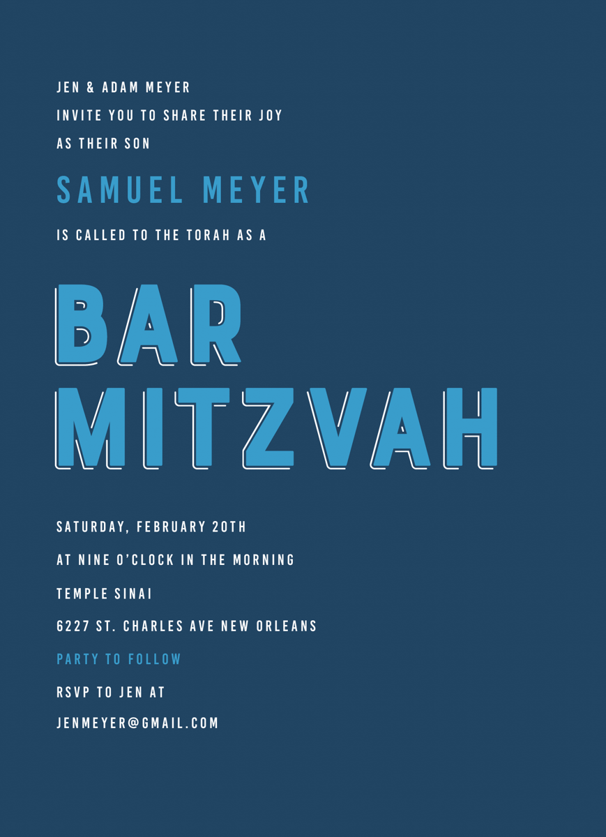 Bold Lettering Bar Mitzvah