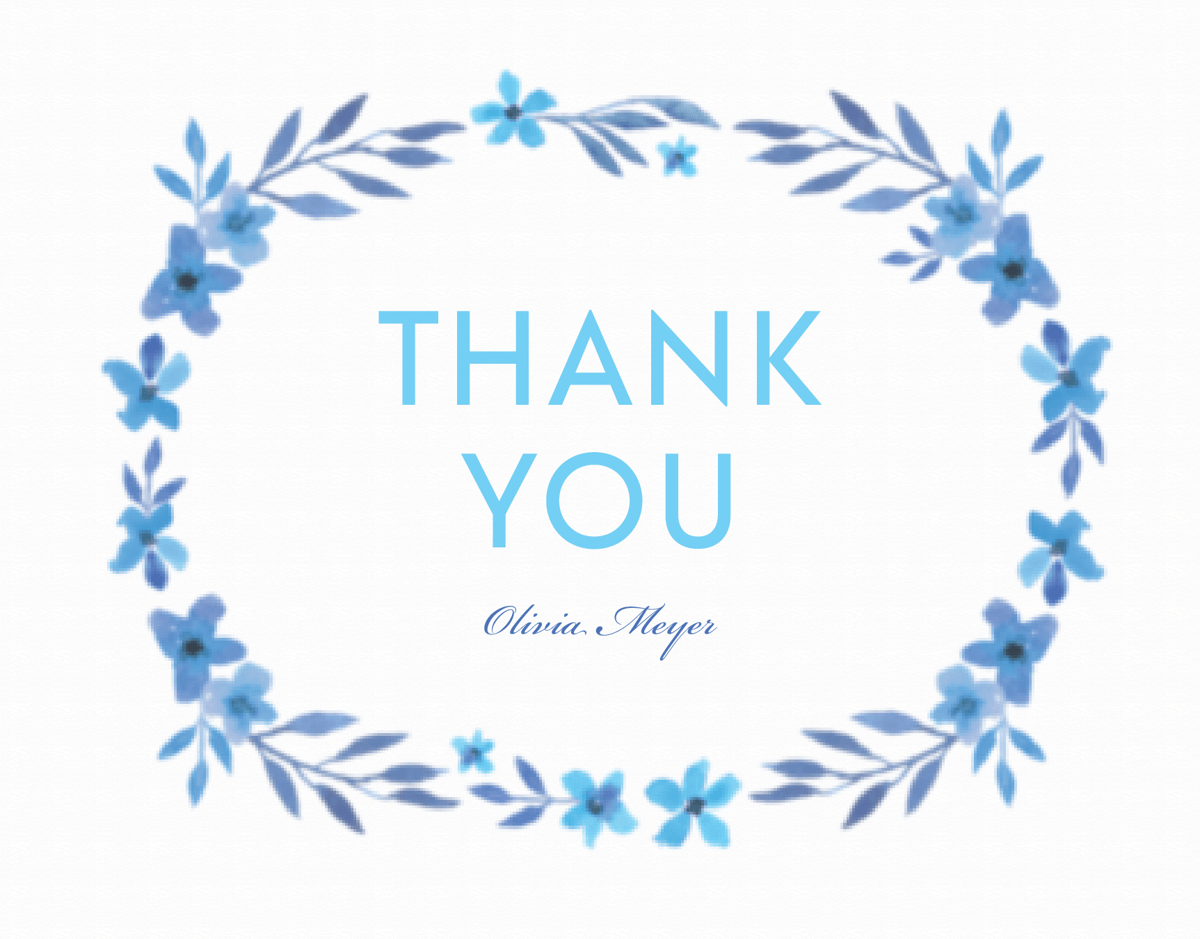 Blue Floral Thank You