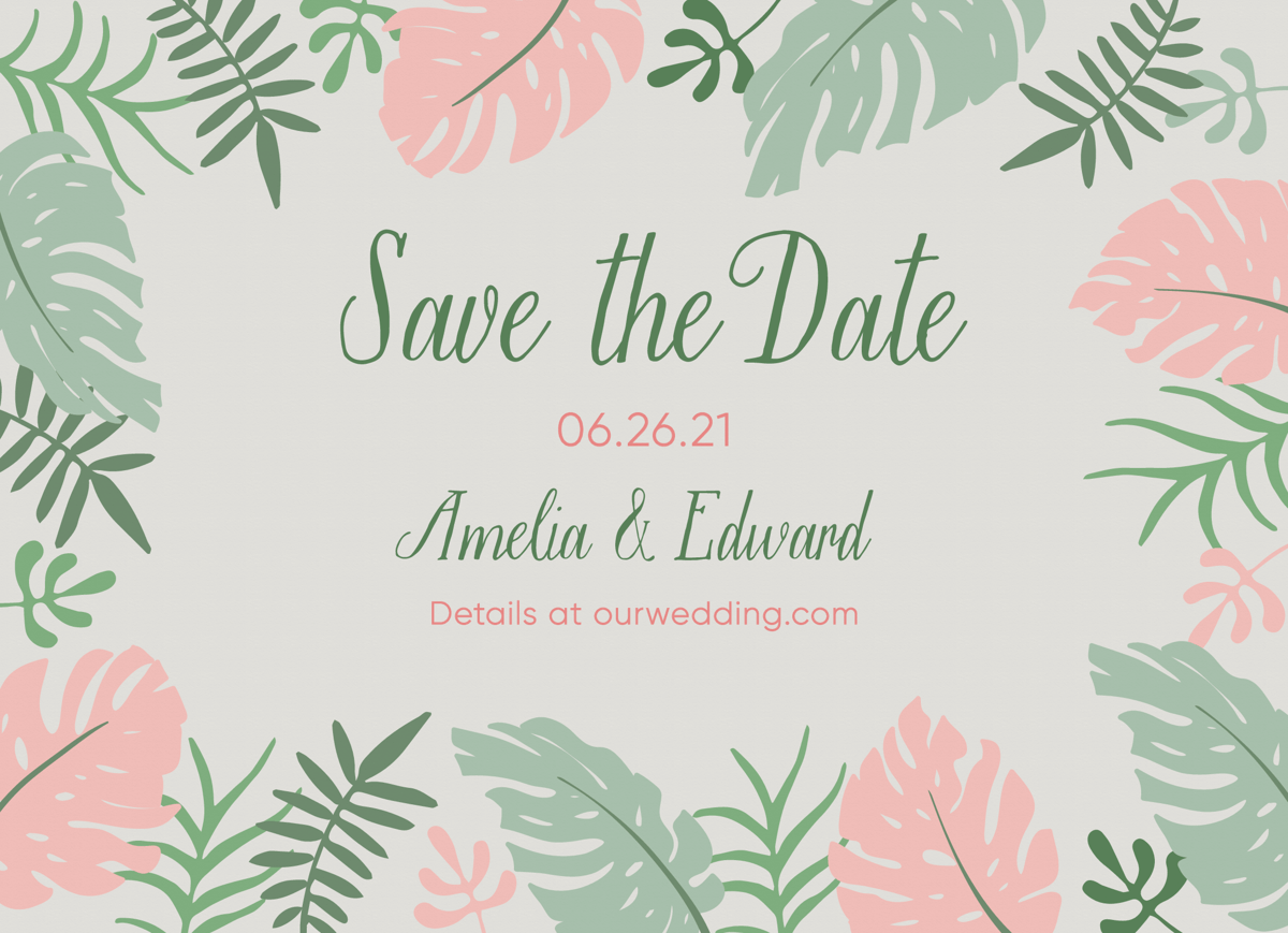 Tropical Leaves Save The Date