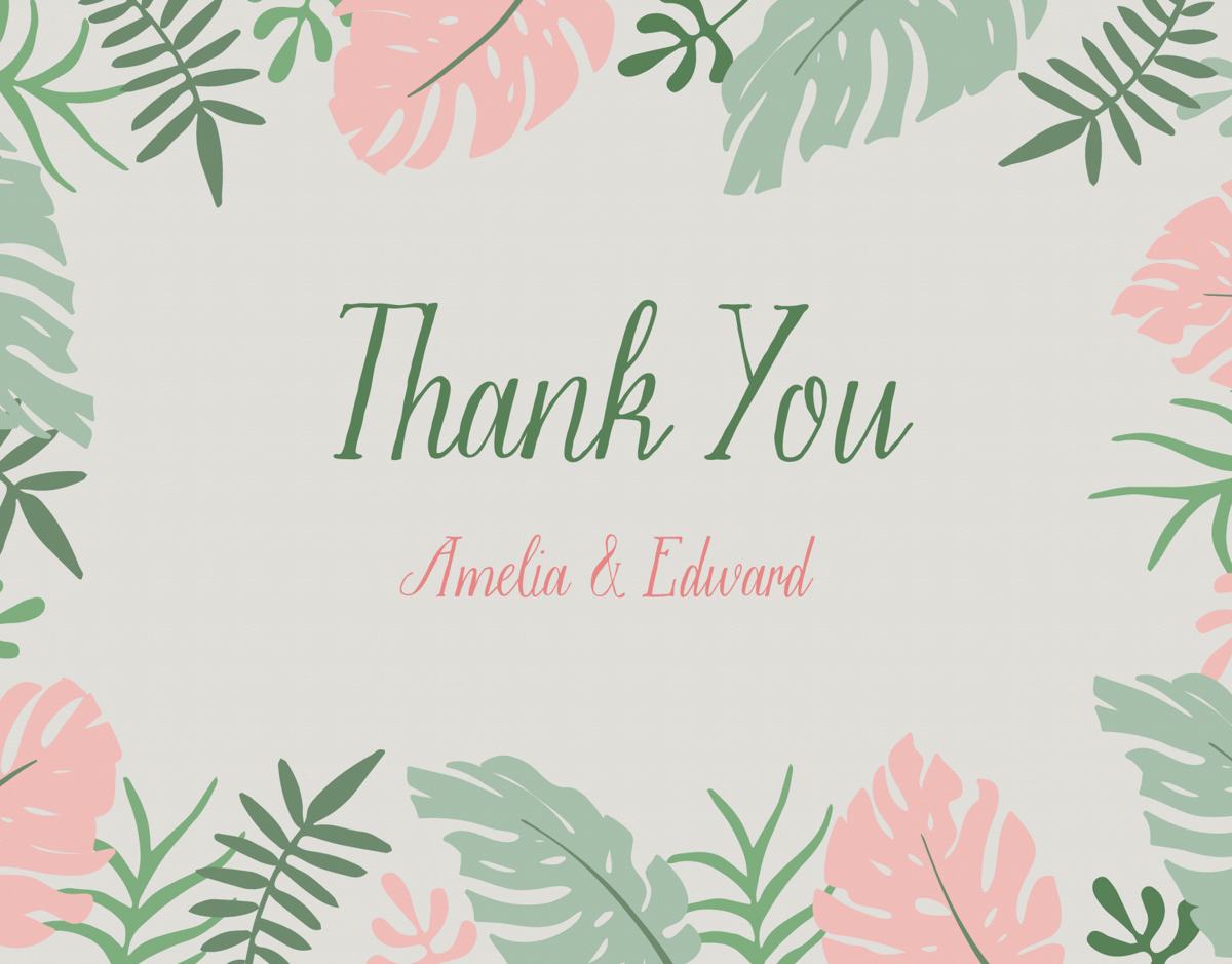 Tropical Leaves Thank You