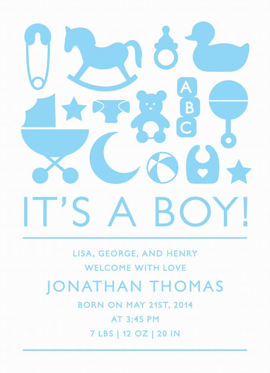 Boy Icons Birth Announcement