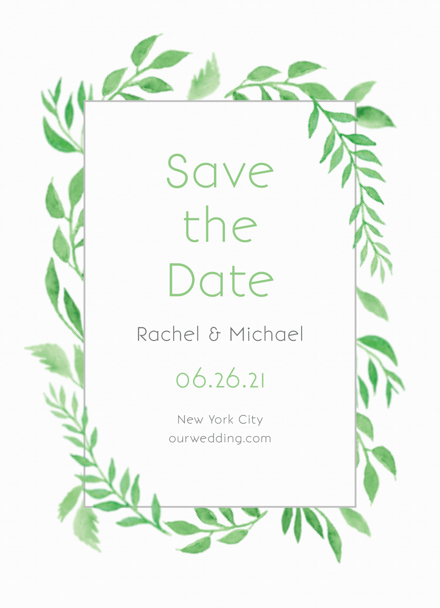 Watercolor Leaves Save The Date