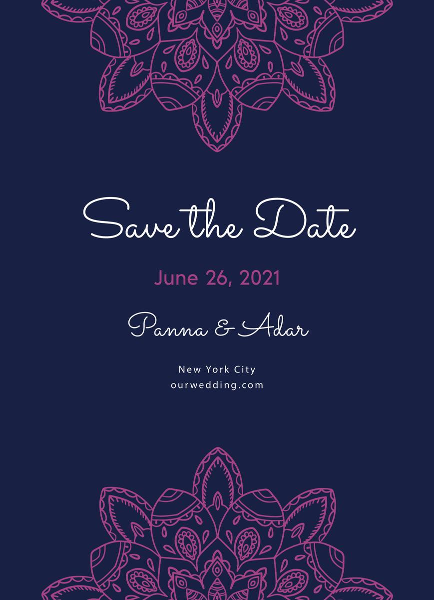 Fuchsia Mandala Save The Date