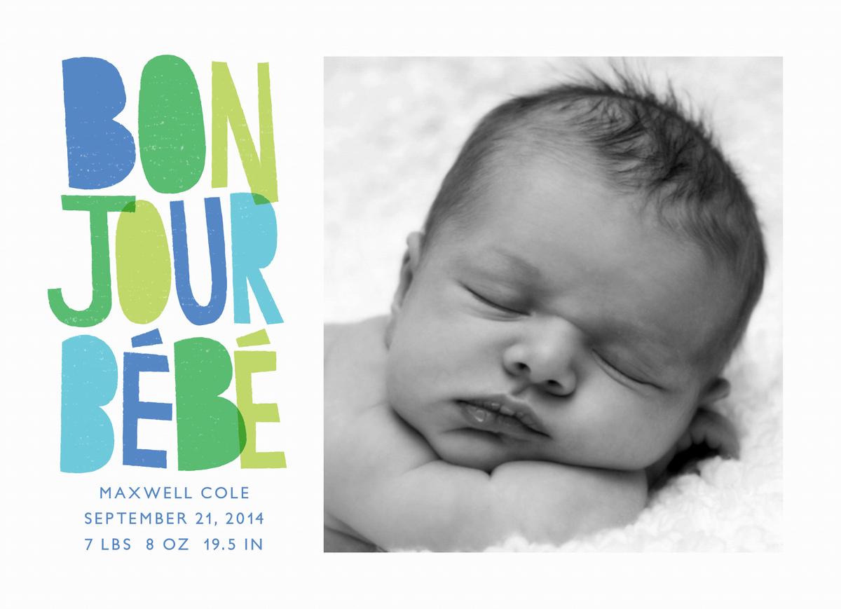 Bonjour Bebe Blue Birth Announcement