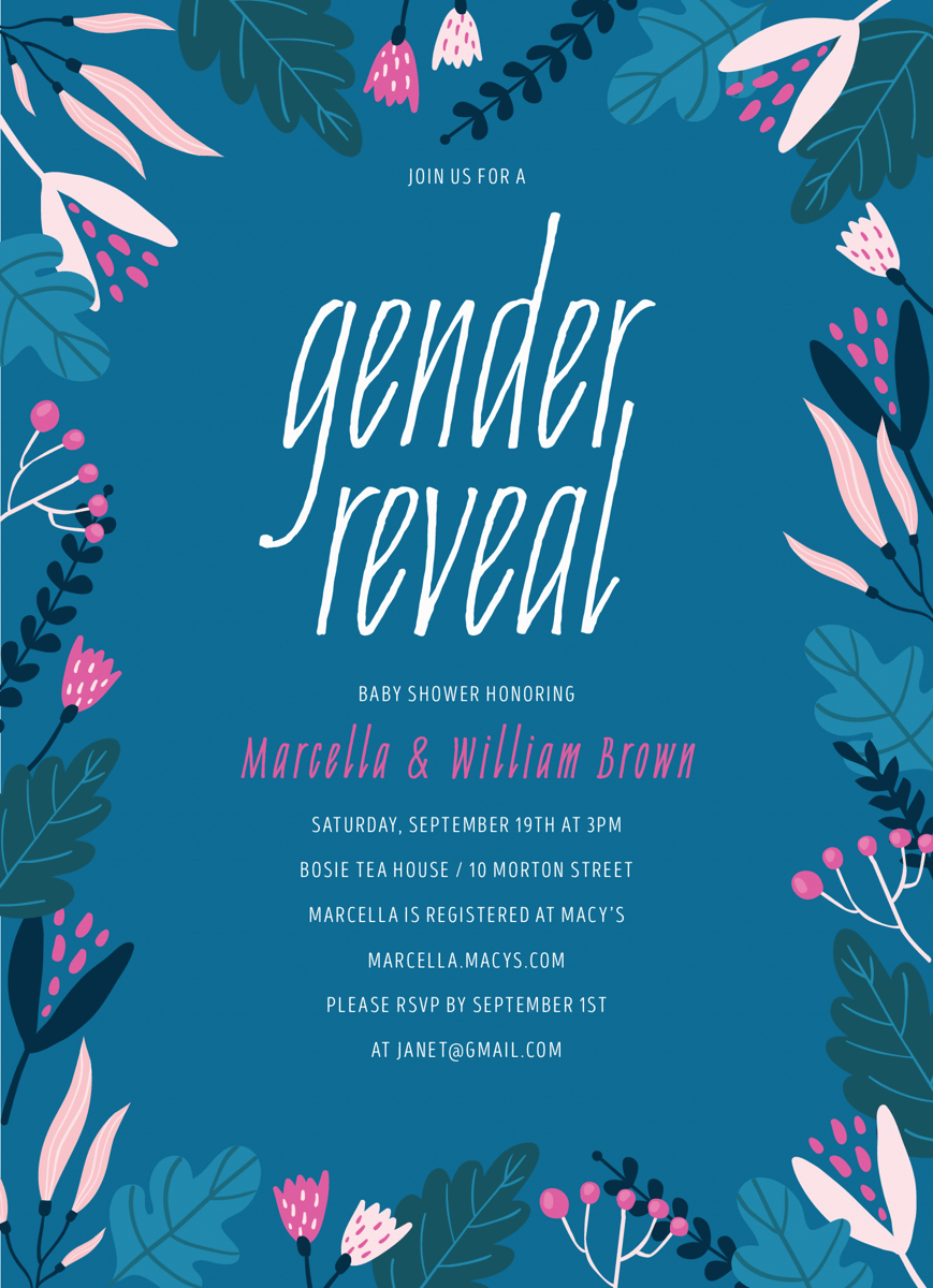 Blue Floral Gender Reveal