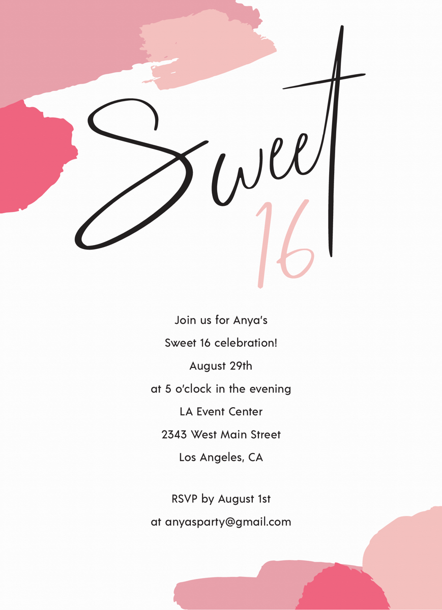 Pink Abstract Sweet 16