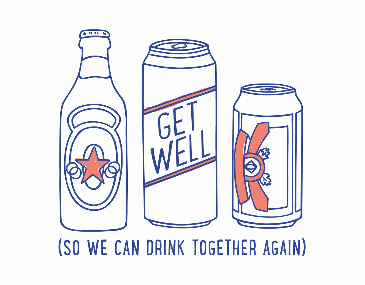 Funny Alcohol Get Well Soon Card