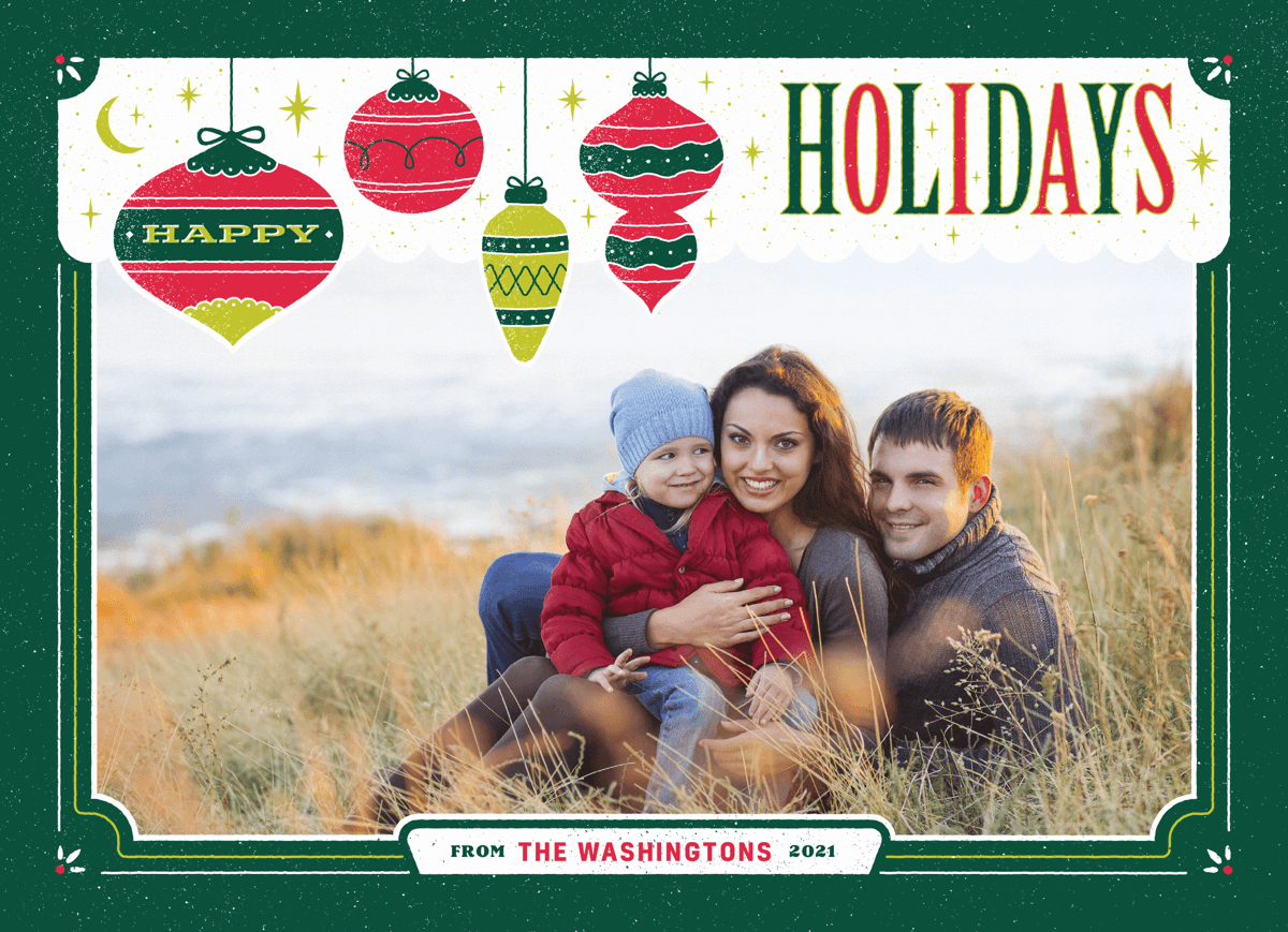 green frame with holiday ornaments photo template card