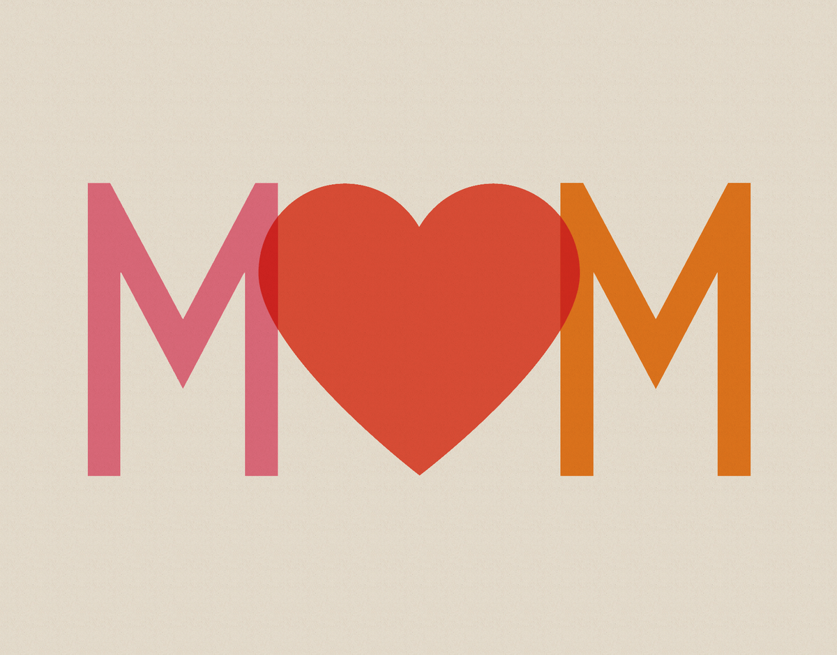 Red Heart Mom Card