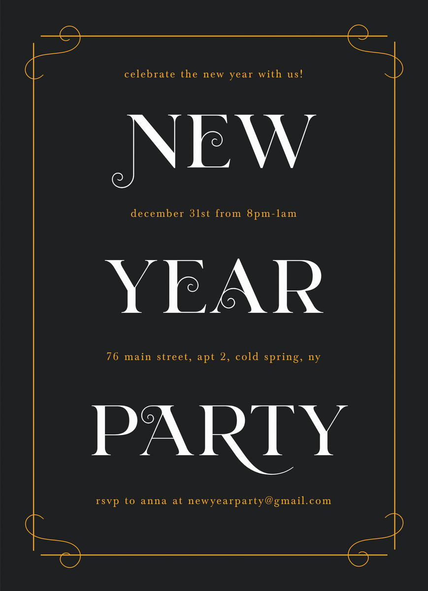 New Year Deco Invite