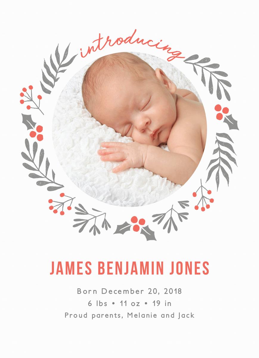 Holly Wreath Announcement