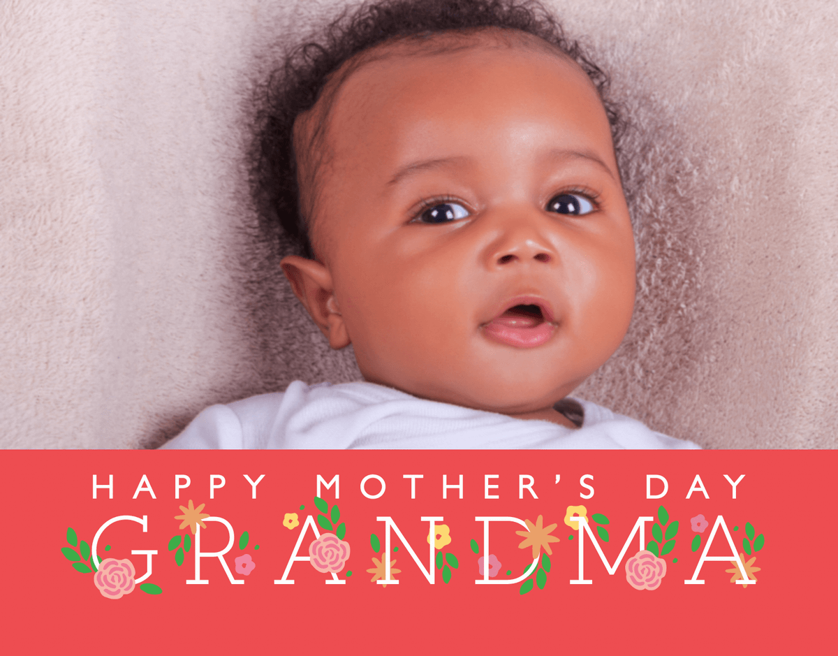 Grandma's Day Floral Font Card