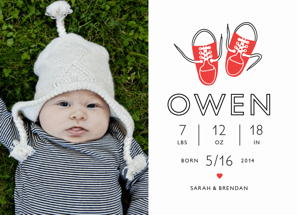 Sneakers Birth Announcement