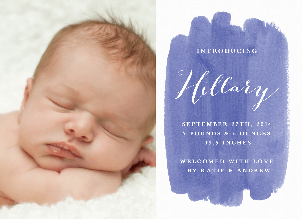 Watercolor Birth Announcement