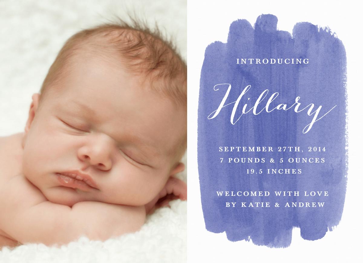 Watercolor Birth Announcement