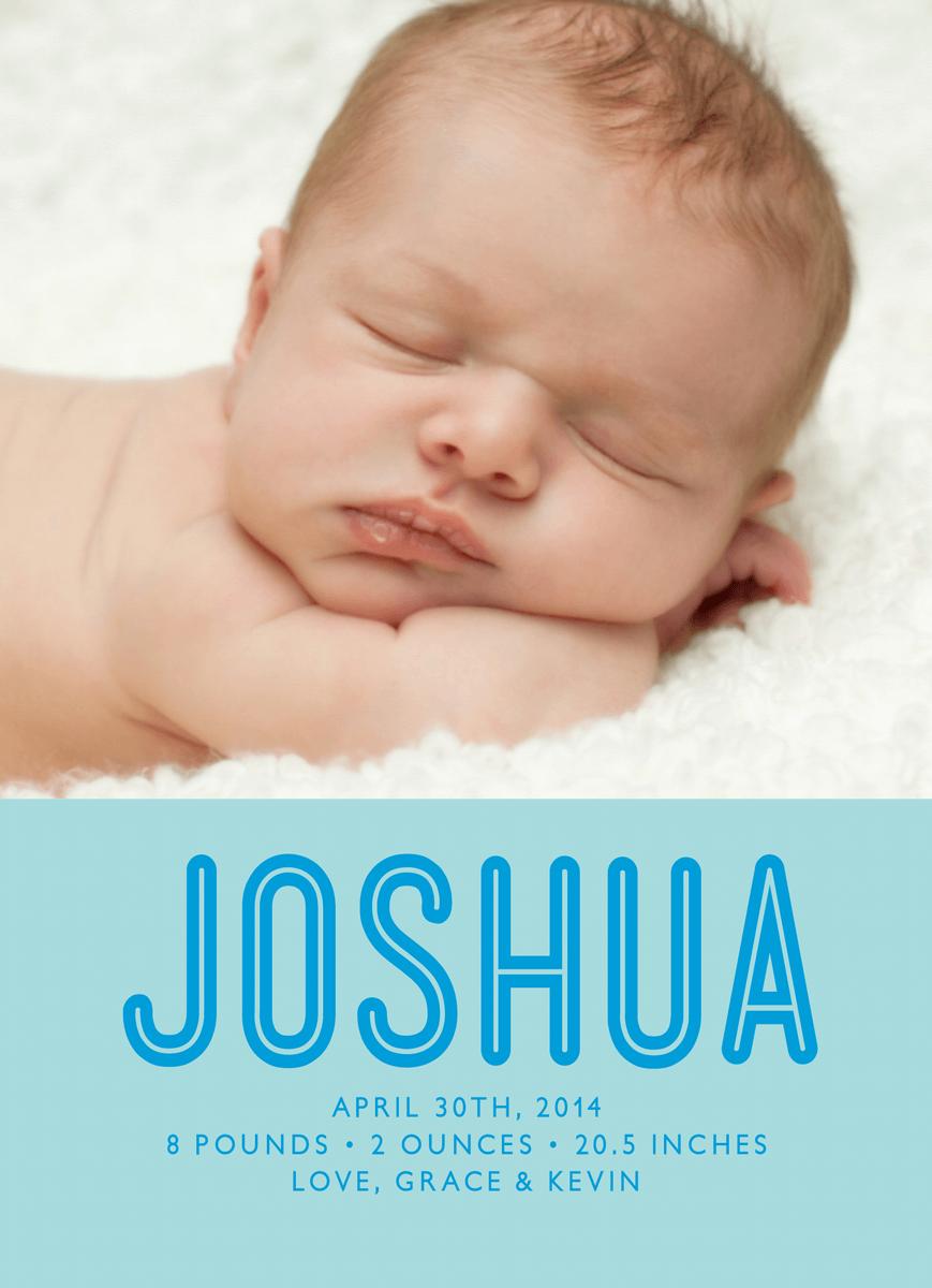Bold Name Blue Birth Announcement