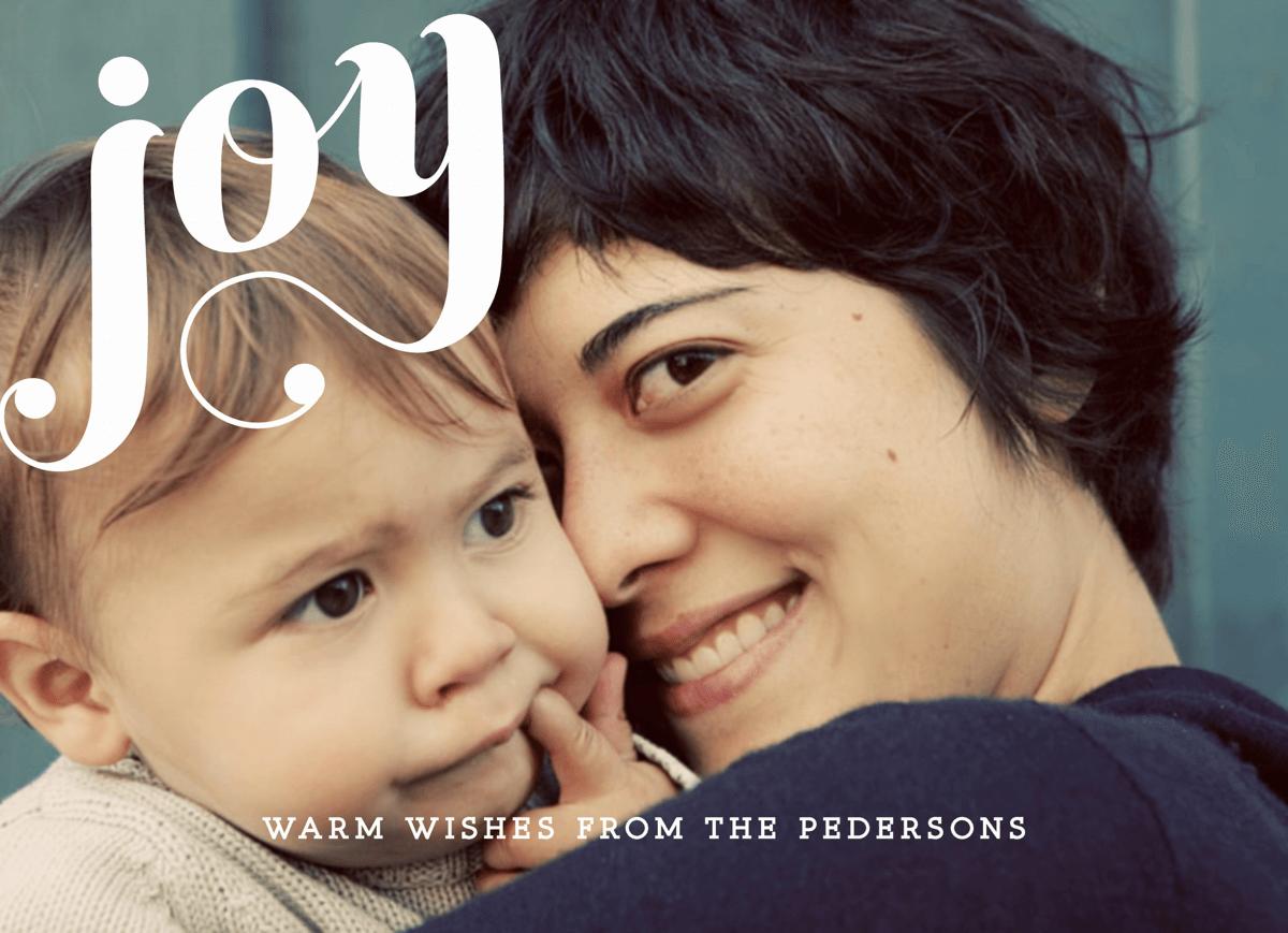 White Cursive Joy Photo Card