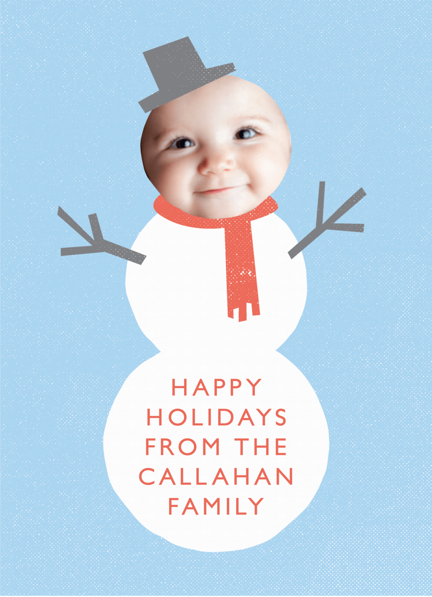 Custom Photo Snowman Holiday Card