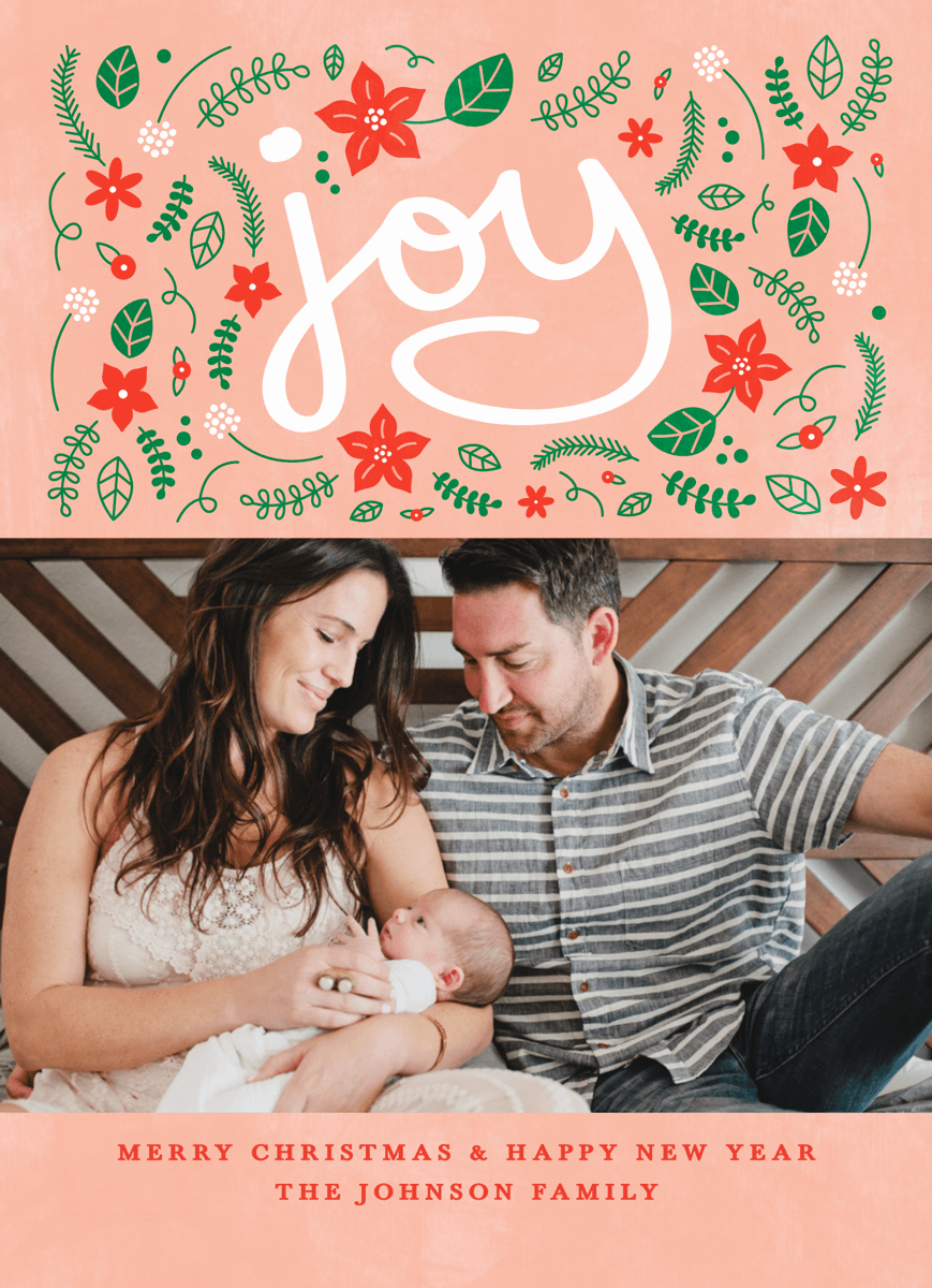 Pink Christian Photo Christmas Card