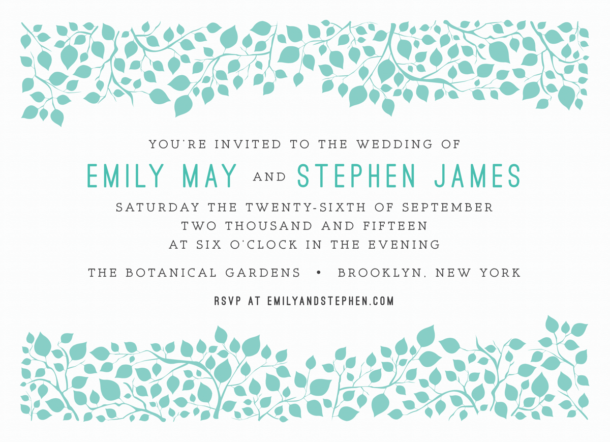 Pretty Branches Wedding Invitation