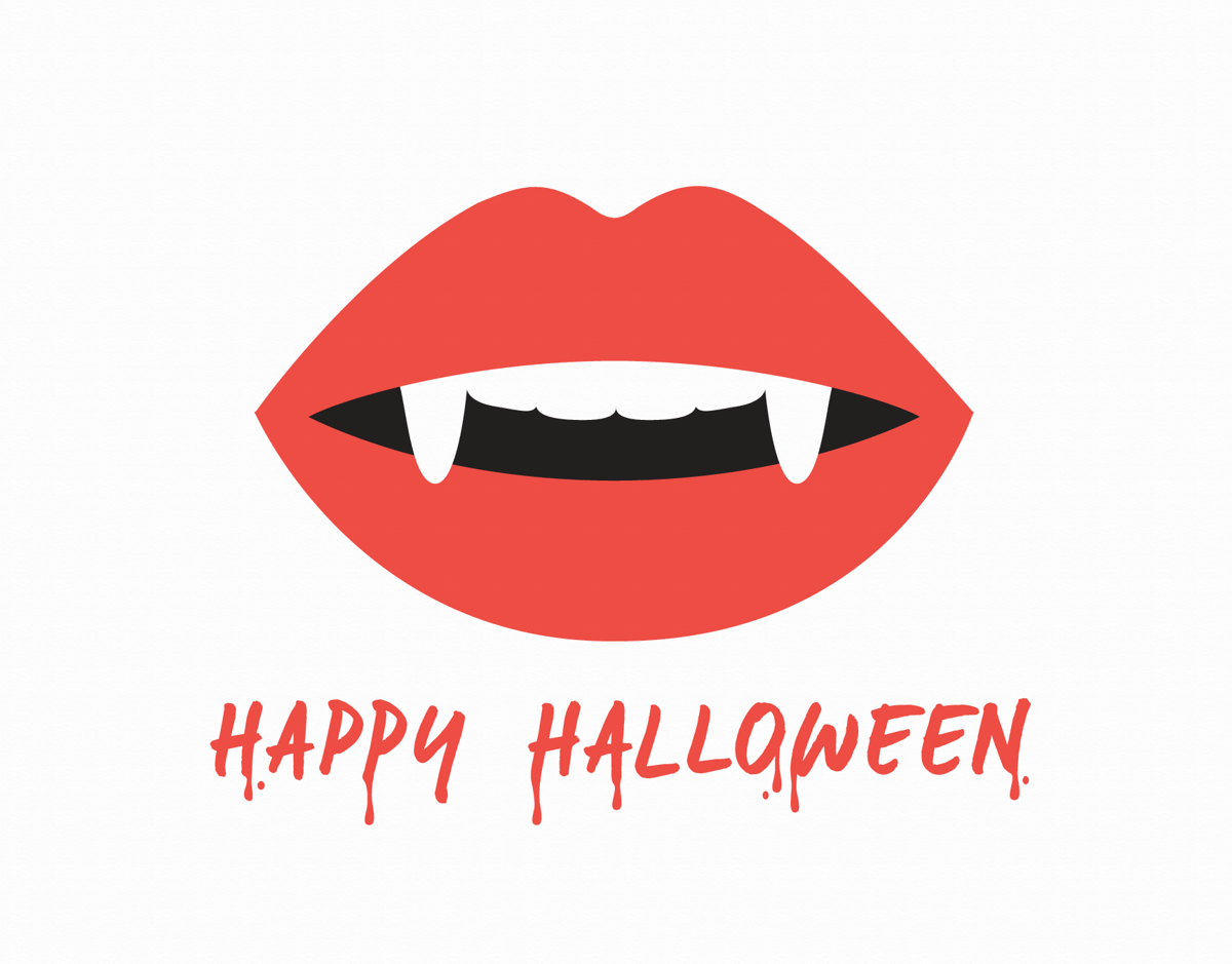 Fangs Halloween Card