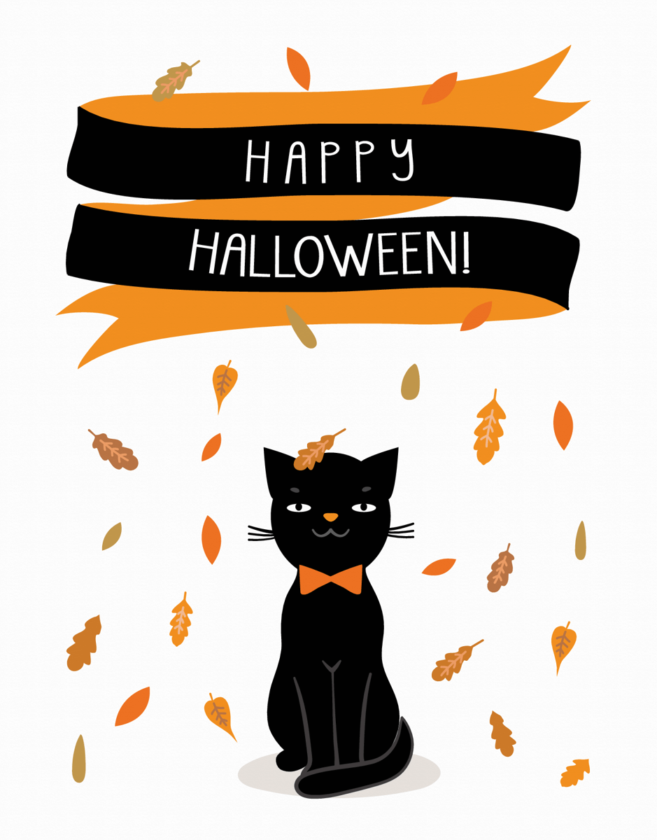 Cat Banner Halloween Card