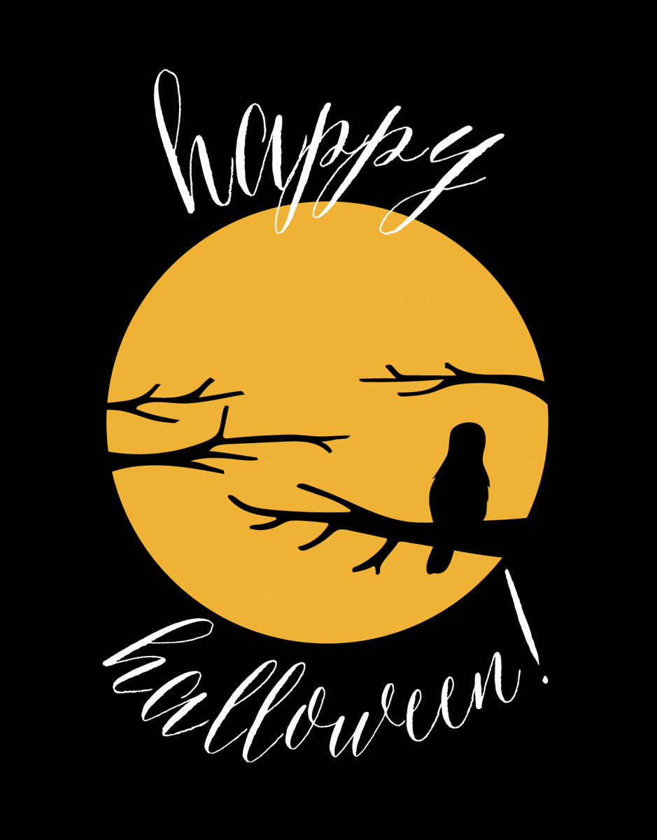 Silhouette Moon Halloween Card