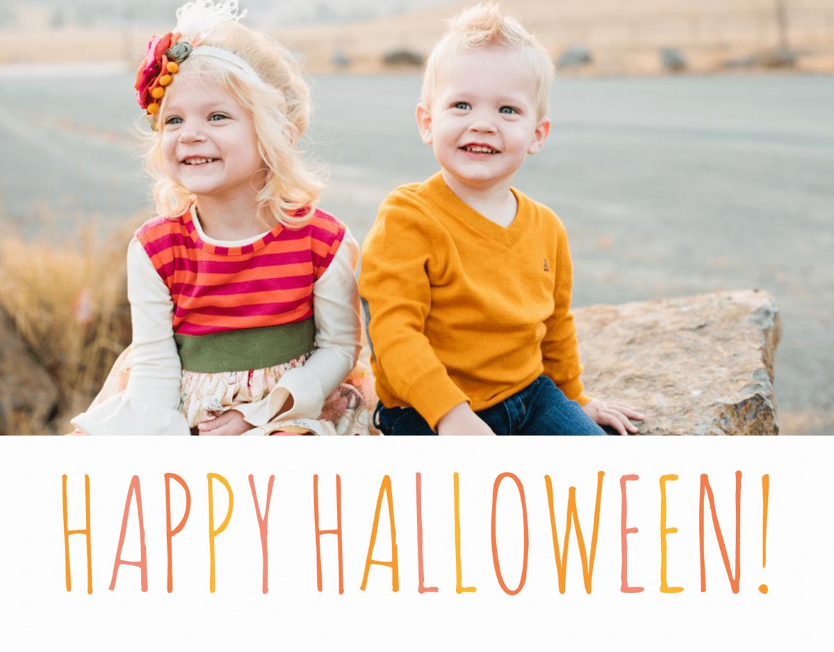 Orange Lettered Photo Halloween Card