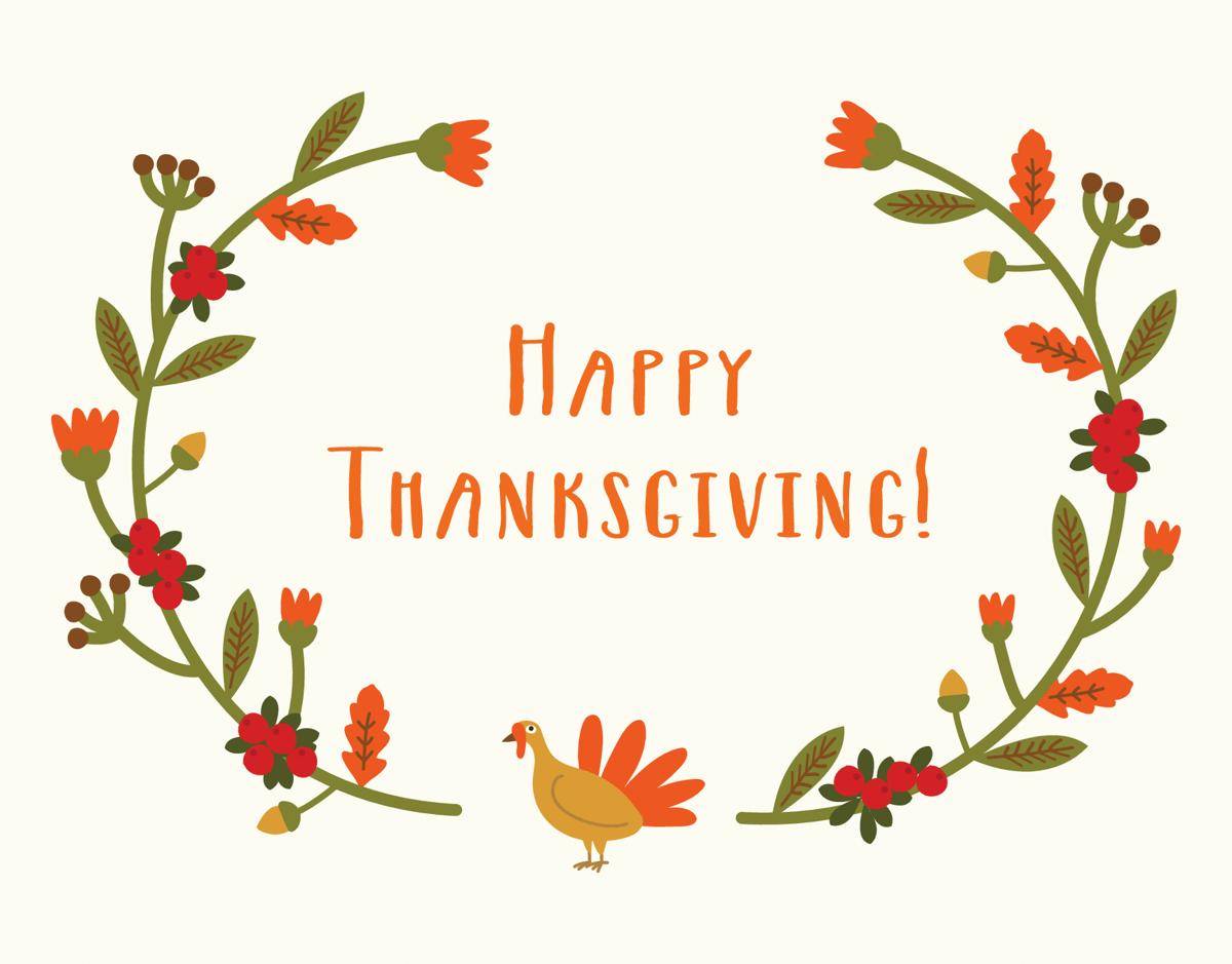 Turkey Wreath Thanksgiving Card