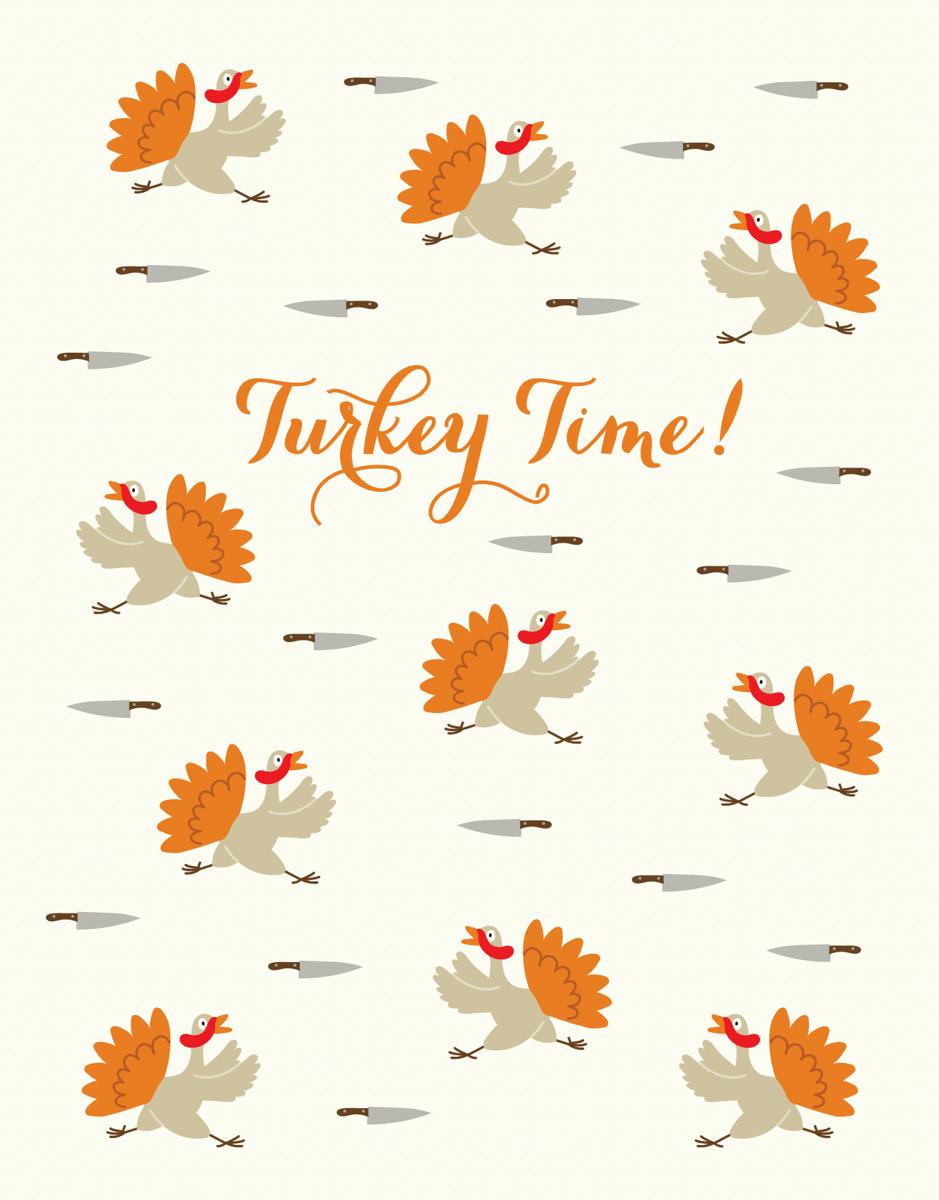 Turkey Time Thanksgiving Card