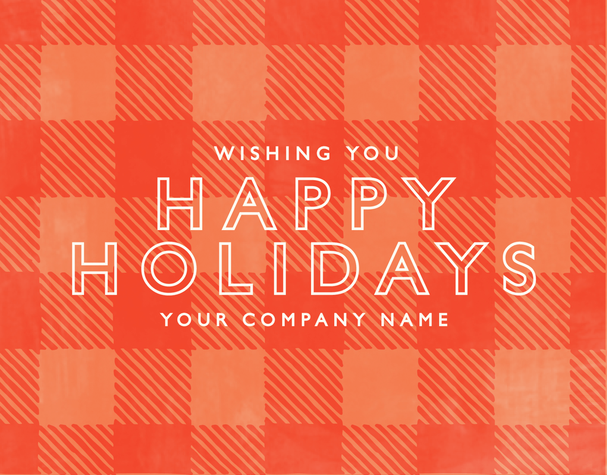 Modern Red Plaid Business Holiday Card