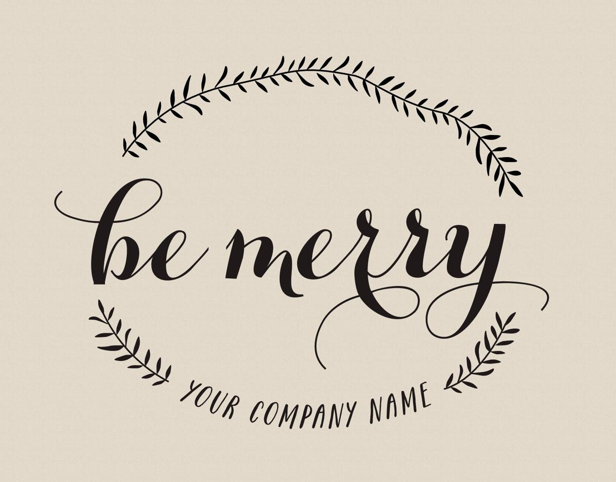 elegant be merry company holiday card
