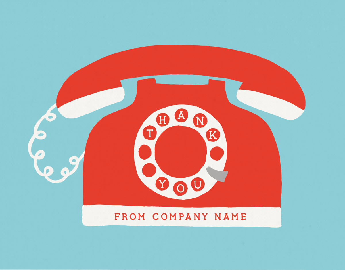 Red Telephone Corporate Thank You Note