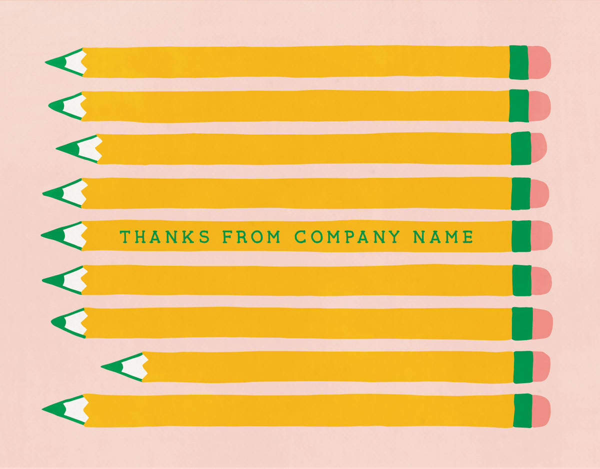 Retro Pencils Thank You Card