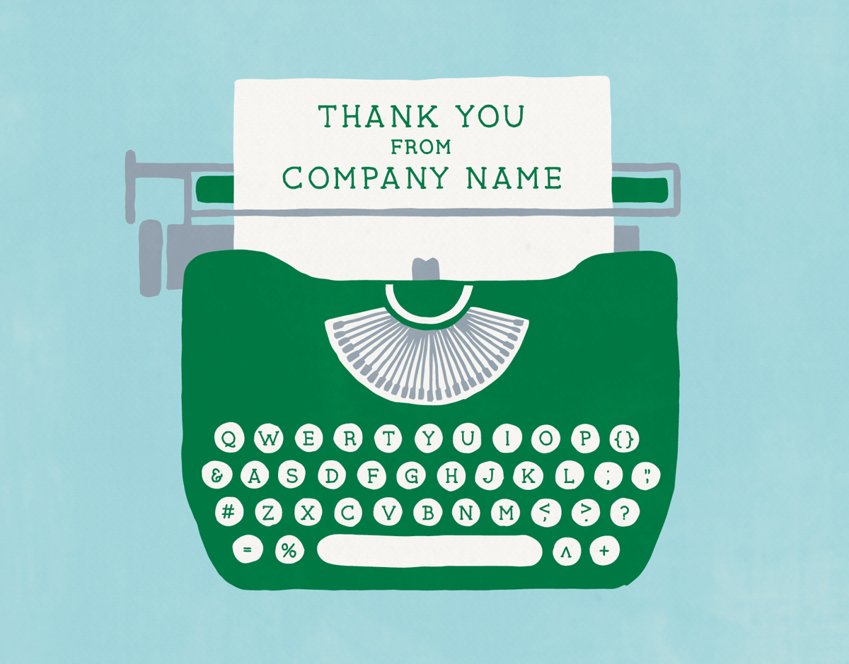 Typewriter Businesses Thank You Card