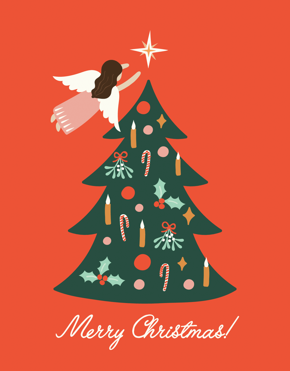 Tree Angel Christmas Card
